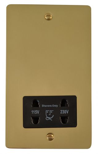 G&H FB30B Flat Plate Polished Brass Dual Voltage Shaver Socket 115-230V
